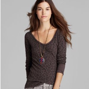 Free People Leopard Thermal Top